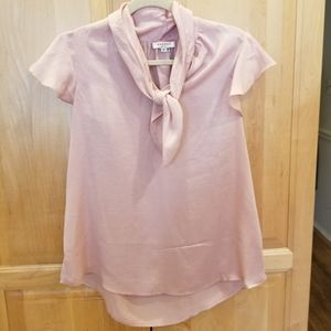 Andree By Unit Pink Ruffle Blouse Top SZ S EUC
